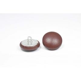 Bouton à anneau recouvert de cuir de veau lisse brun