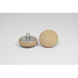 Bouton à anneau recouvert de cuir de veau sable