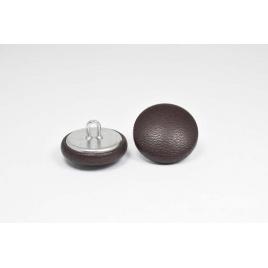 Bouton à anneau recouvert de cuir de veau souple chocolat