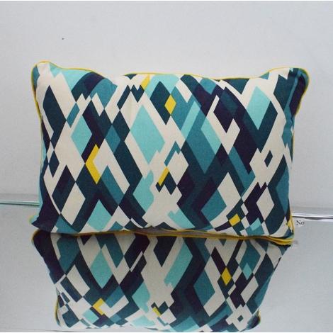Coussin géométrique rectangulaire camaïeu de bleu et jaune
