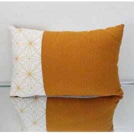 Coussin géométrique rectangulaire jaune et blanc