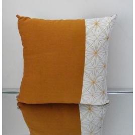Coussin géométrique carré jaune et blanc