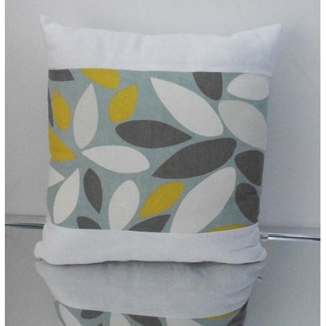 Coussin carré feuillage, blanc et vert