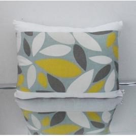 Coussin rectangle feuillage, blanc et vert
