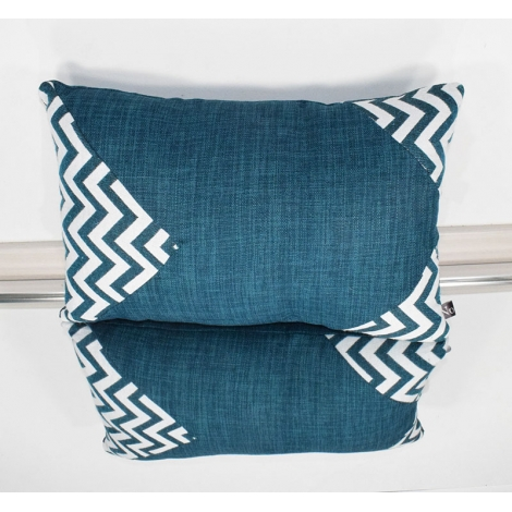 Coussin rectangle jacquard bleu version 1