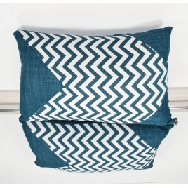 Coussin rectangle jacquard bleu version 2