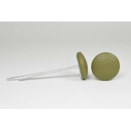 Bouton à languettes recouvert de simili cuir vert tilleul
