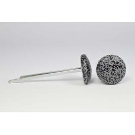 Bouton à languettes recouvert de simili cuir vieilli gris acier
