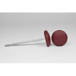 Bouton à languettes recouvert de simili cuir cerise