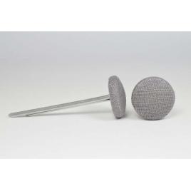 Bouton à languettes recouvert de lin gris