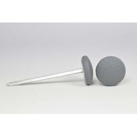 Bouton à languettes recouvert de simili cuir gris