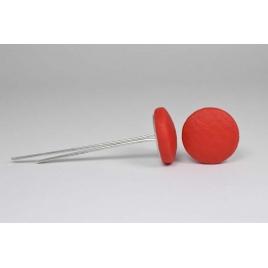 Bouton à languettes recouvert de simili cuir rouge