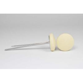 Bouton à languettes recouvert de simili cuir beige