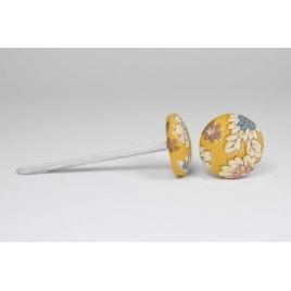 Bouton à languettes recouvert de tissu Liberty Frou Frou poussière d'or