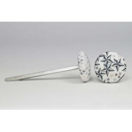 Bouton à languettes recouvert de tissu Liberty Adelajda greige/bleu