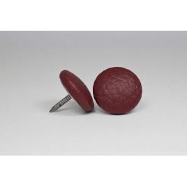 Bouton à clou recouvert de simili cuir cerise