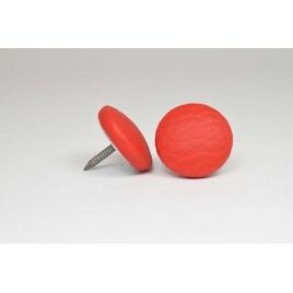 Bouton à clou recouvert de simili cuir rouge