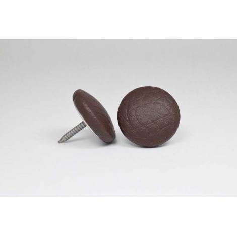 Bouton à clou recouvert de simili cuir chocolat